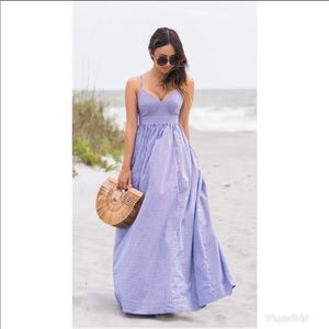 J. Crew Gingham Spaghetti Strap maxi dress